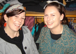 Sarah and Inga in front of a wardrobe of shwopping treasures....